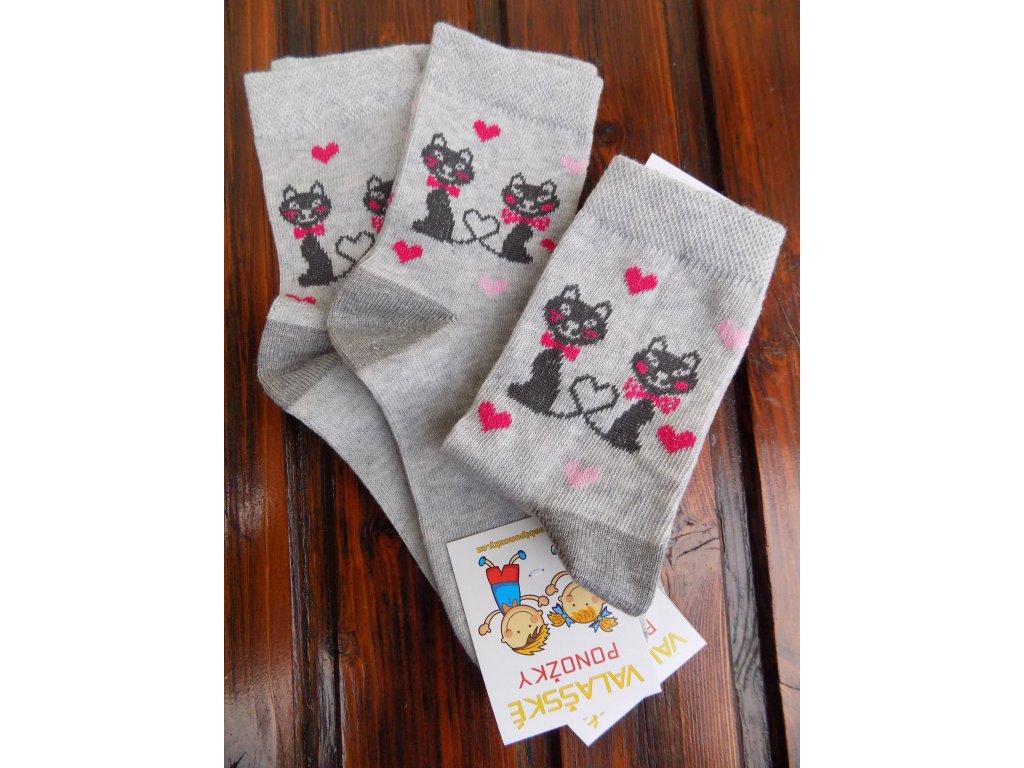 Celoroční dětské ponožky bavlněné pro holky kočičky