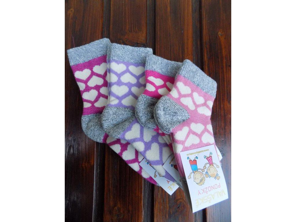 Zimní dětské ponožky srdíčka