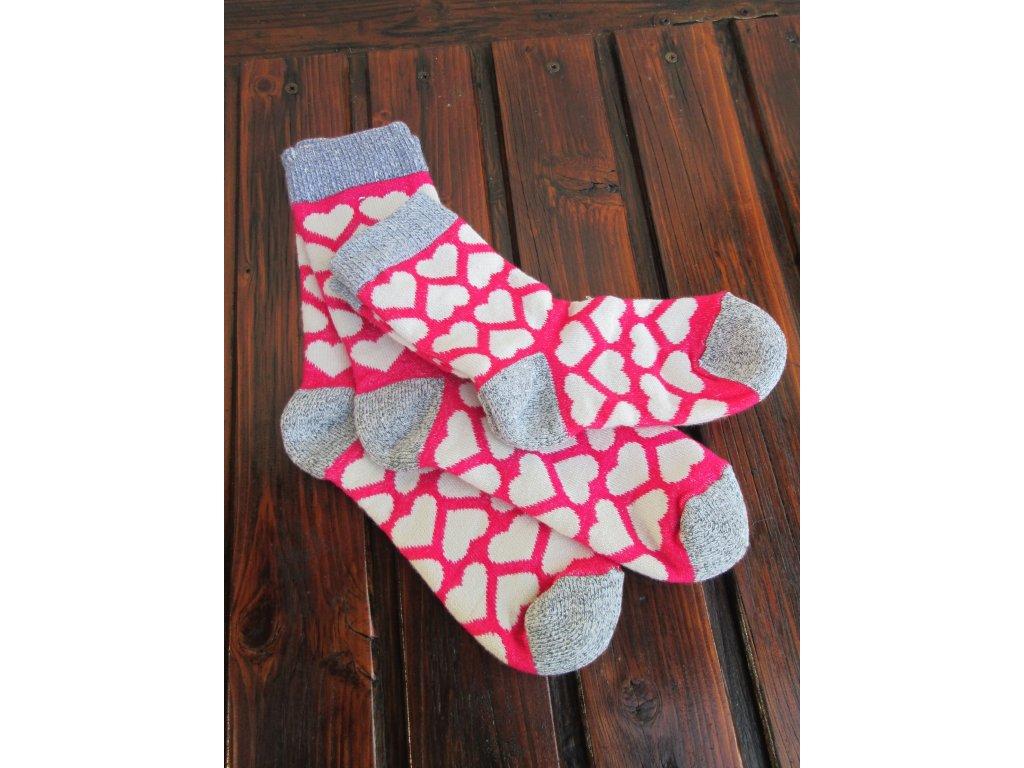Zimní dámské ponožky vlněné/froté srdce