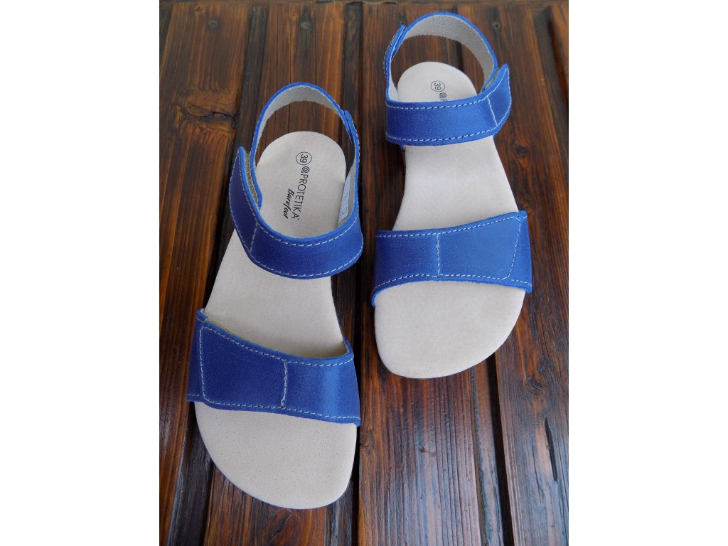Protetika kožené barefoot sandále Belita modré