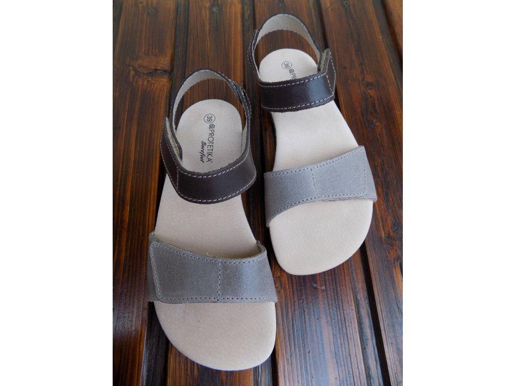 Protetika kožené barefoot sandále Belita hnědo-šedé