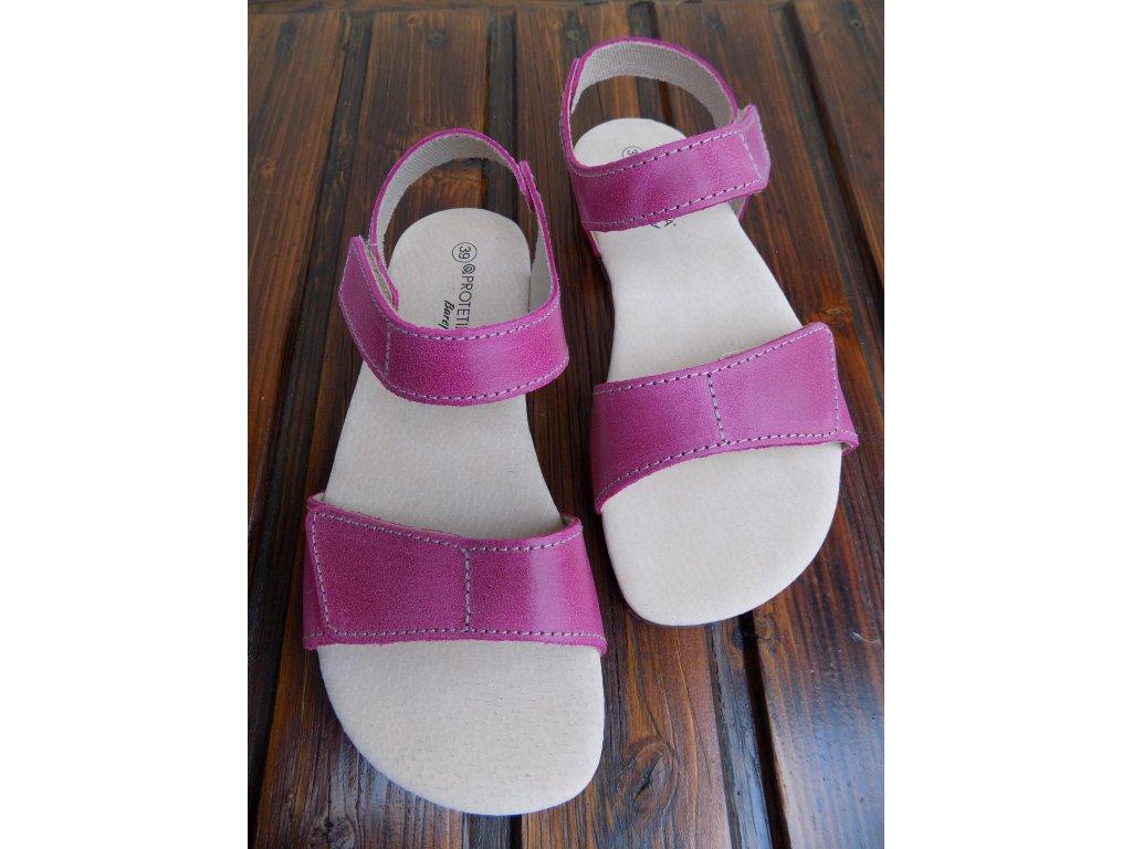 Protetika kožené barefoot sandále Belita růžové
