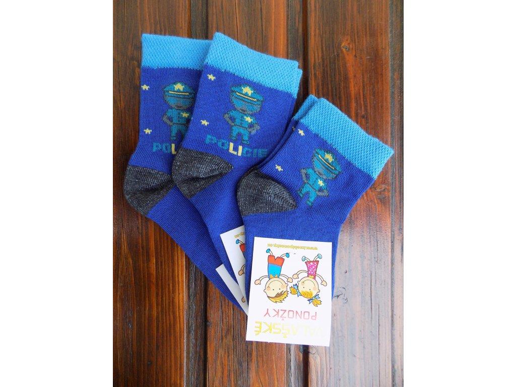 Celoroční dětské ponožky bavlněné pro kluky policie