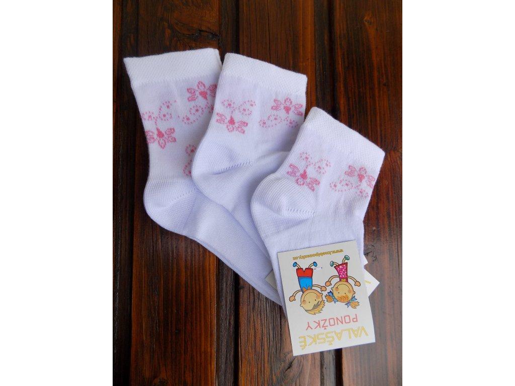 Celoroční dětské ponožky bavlněné pro holky třešňové květy