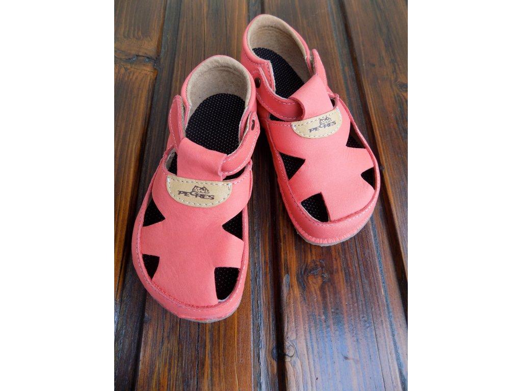 Pegres kožené barefoot sandálky lososové BF20