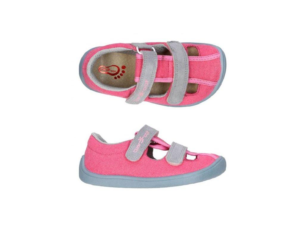 3F Bar3foot plátěné sandálky 3BE25/3R růžové
