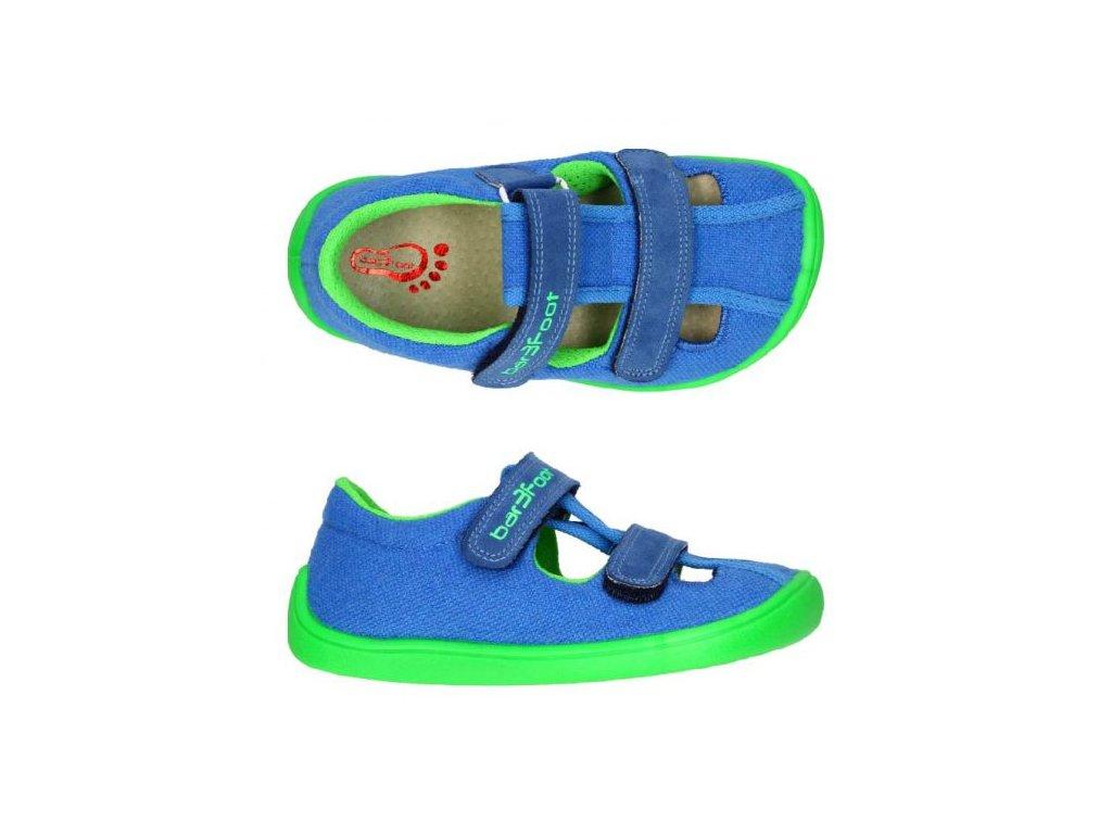 3F Bar3foot plátěné sandálky 3BE25/2R modrozelené