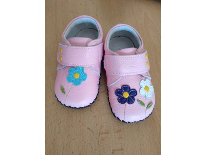 Freycoo kožené barefoot capáčky pro děti Viola kytičky