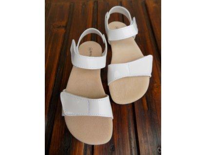 Protetika kožené barefoot sandále Belita leskle bílé