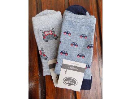 Celoroční pánské ponožky bavlněné kamion/auta