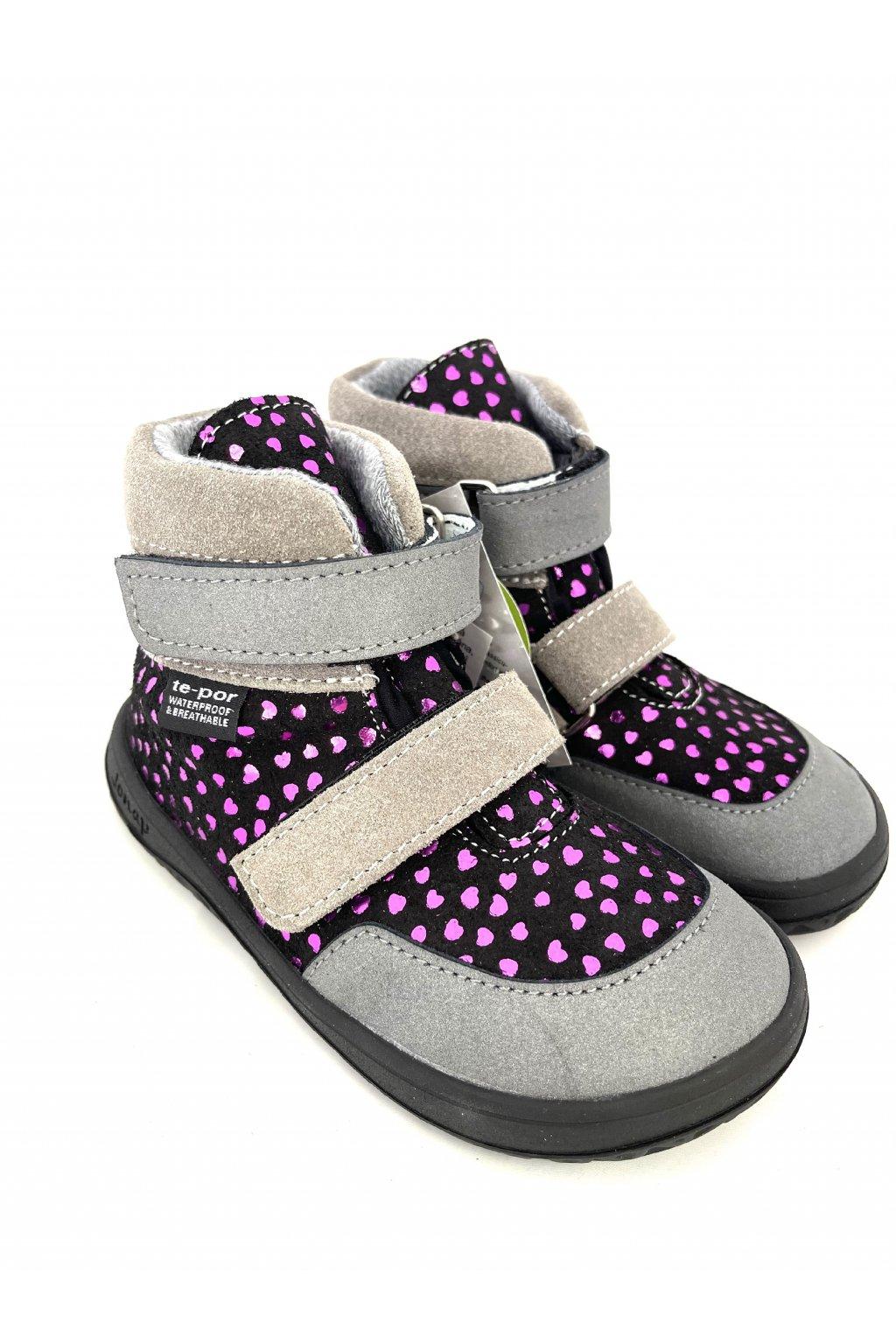 Celoročné topánky Jonap Jerry Čierne srdiečko + TEX mambrána