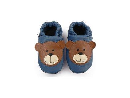 Afelo - kožené capáčky - medvídek tmavě modrý