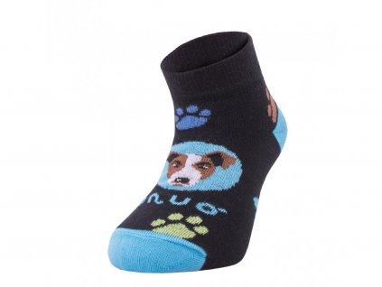 8211 6 bambusove kotnickove ponozky pes tyrkysove bamboo ankle socks printed