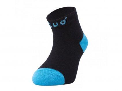 8202 6 bambusove kotnickove ponozky cerne s tyrkysovou bamboo ankle socks