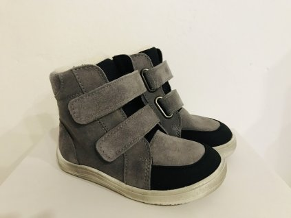 Baby Bare Shoes Febo Winter Grey Velour Asfaltico okop
