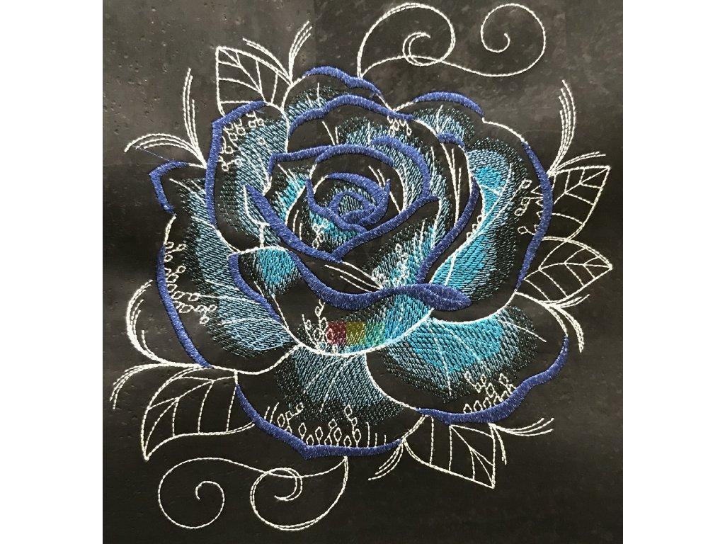 panel - černý korek s výšivkou - modrá růže (90 x 40 cm)