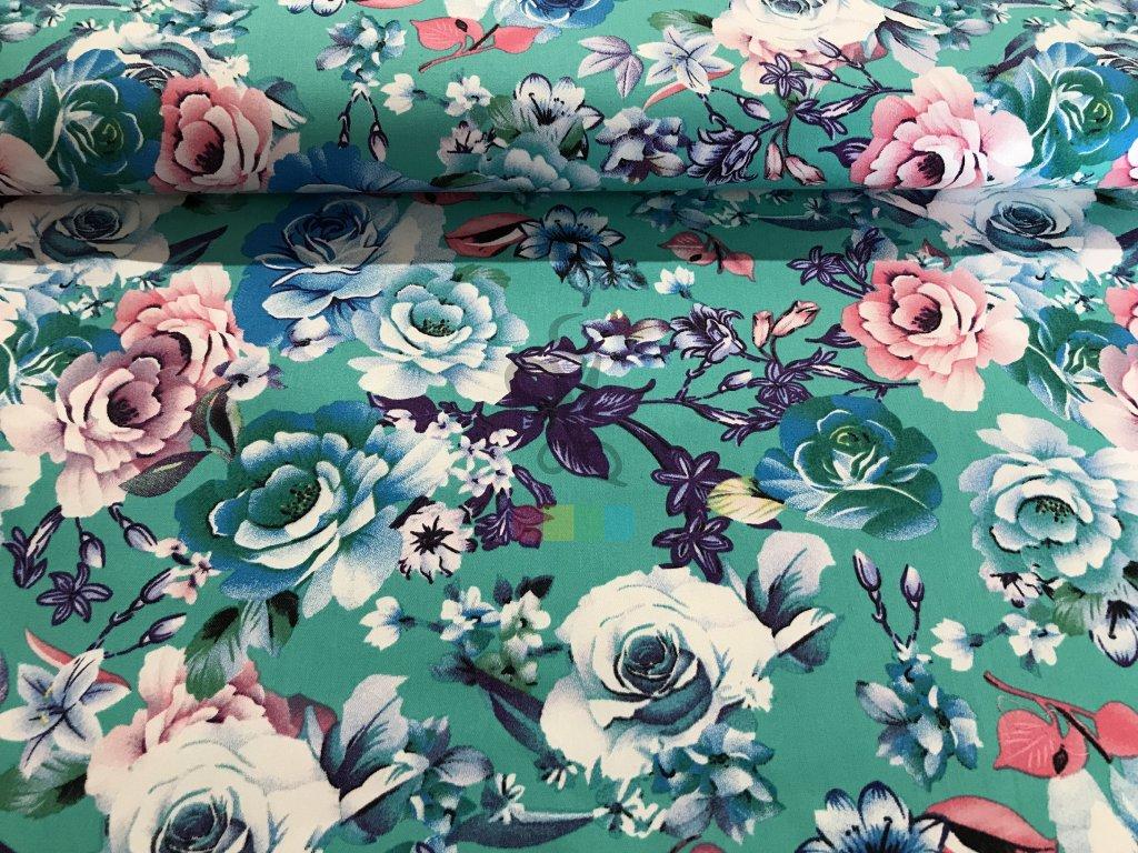 jeansovina s potiskem - květy na zelené
