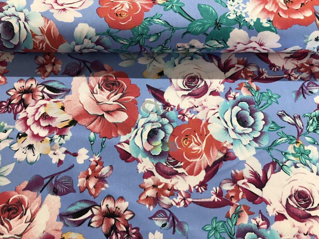 jeansovina s potiskem - květy na modré