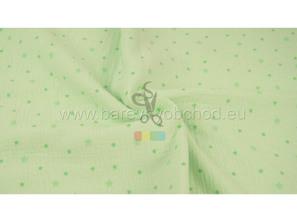 dvojitá gázovina /mušelín - zelená s hvězdičkami