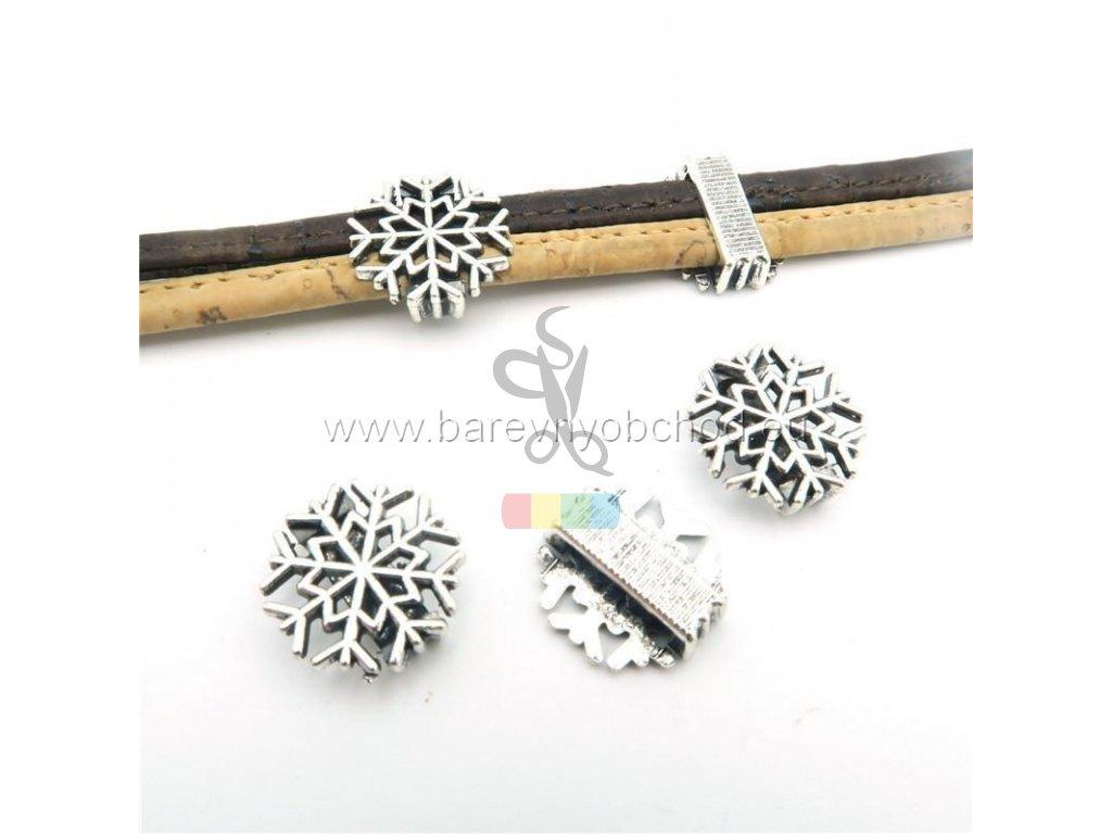 sněhová vločka pro plochý pásek 10 mm - stříbrná