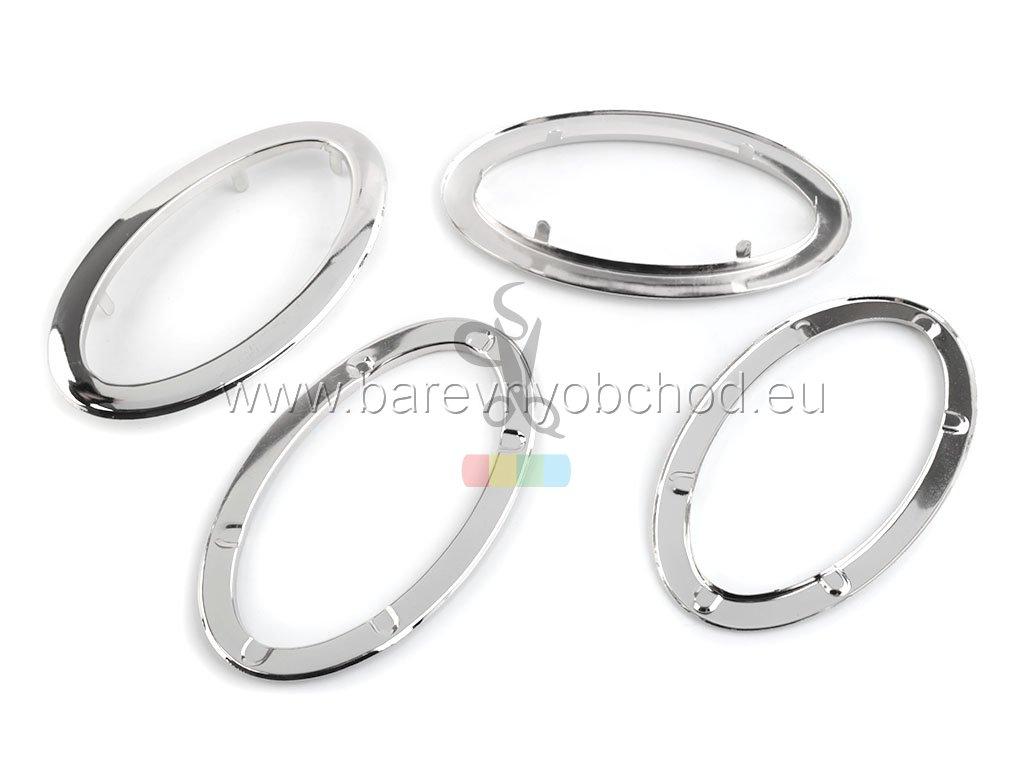 ucha kovová oválná - stříbrná