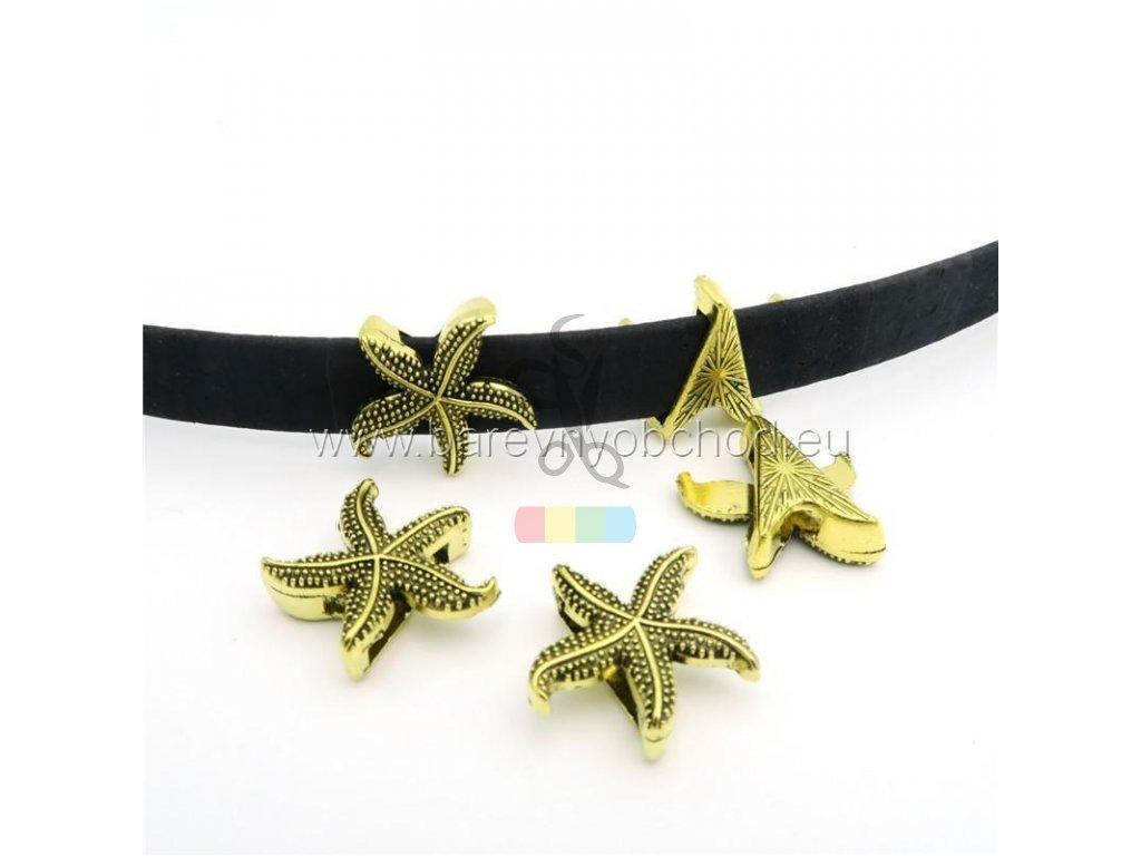 hvězdice pro plochý pásek 10 mm - zlatá