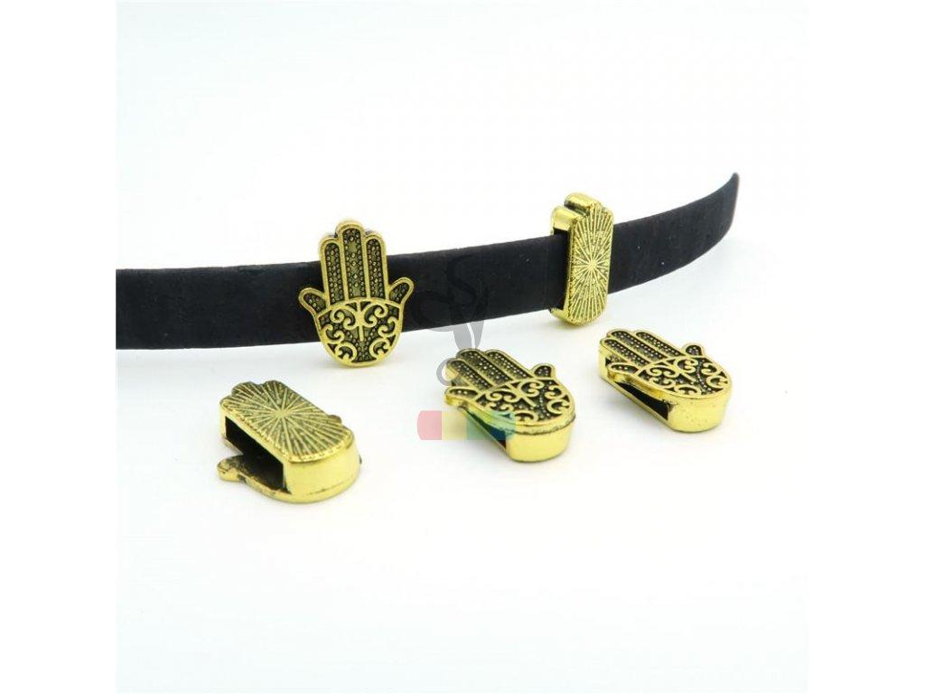 ruka pro plochý pásek 10 mm - zlatá