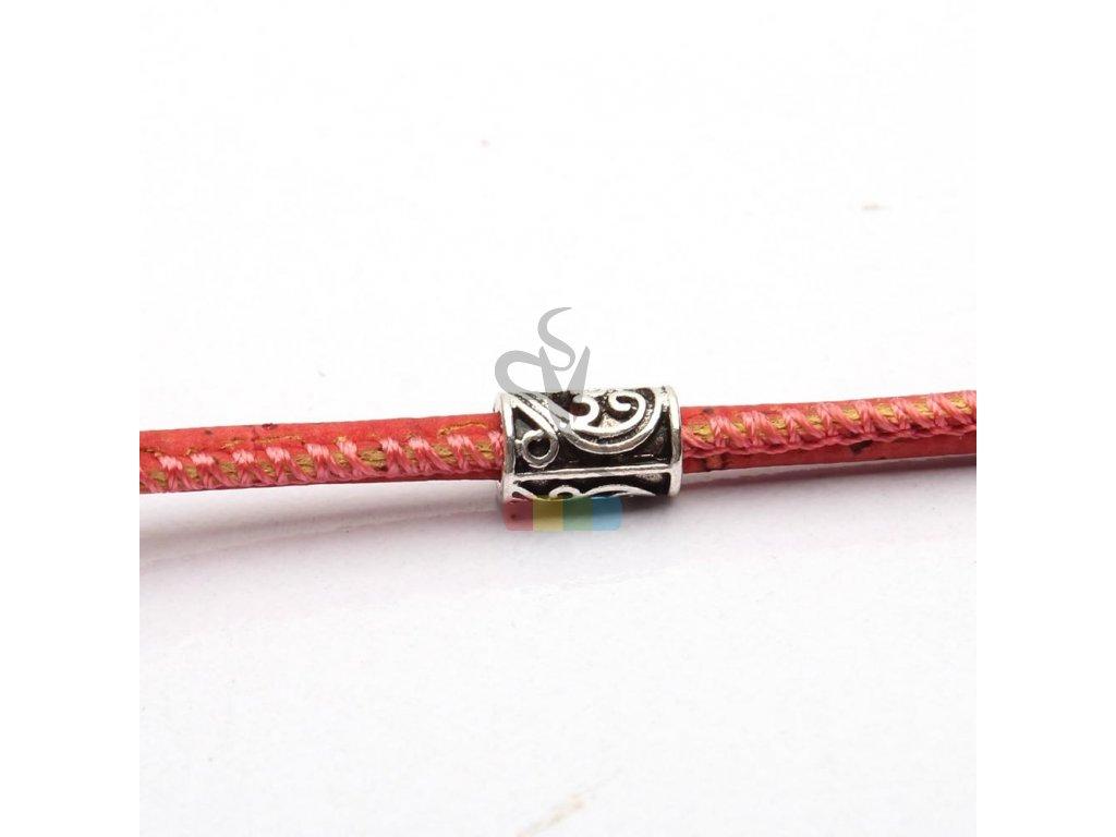 korková šňůra kulatá, průměr 3 mm -  červenooranžová (cihlová)