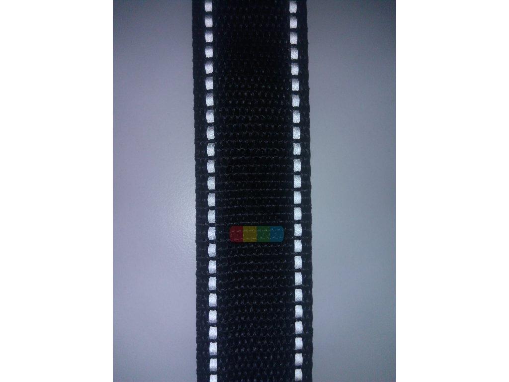 polypropylenový popruh 3 cm - černý s reflexními pruhy