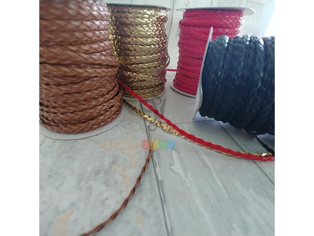 pletený řemínek z umělé kůže 7 mm - různé barvy