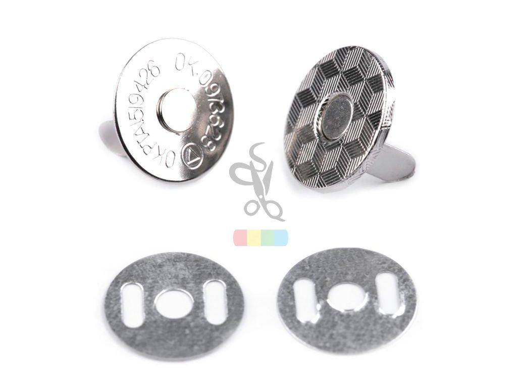 magnetické zapínání tenké - průměr 14mm nikl