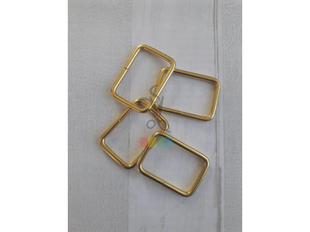 obdélníkový průvlek 30 x 20 mm - zlatý