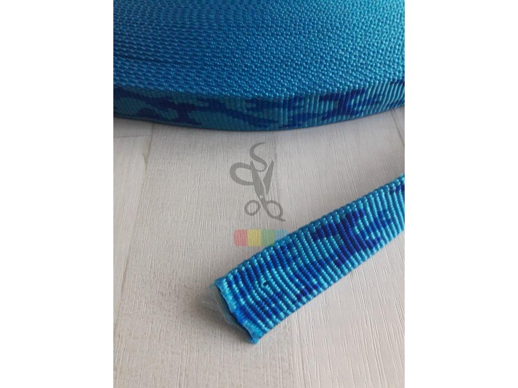 polypropylenový popruh maskáčový - 20 mm - modrý