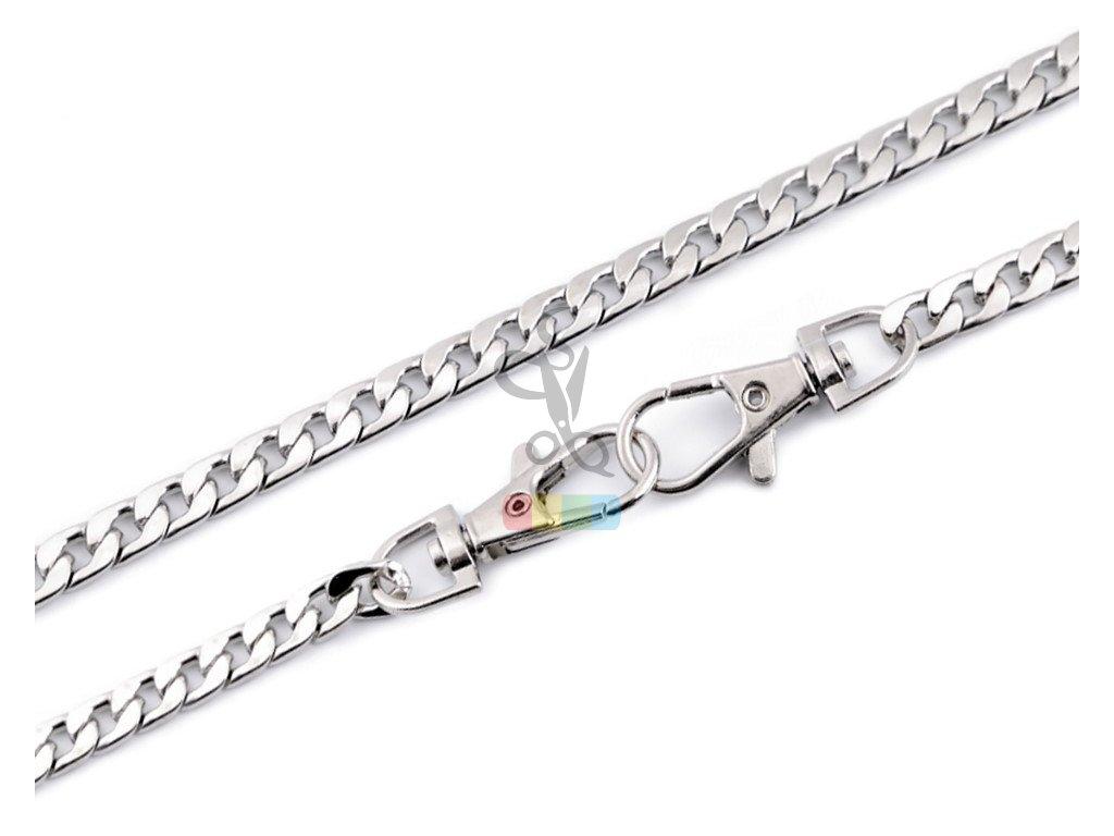 řetízek na kabelky plochý s karabinkami - 120 cm - stříbrný
