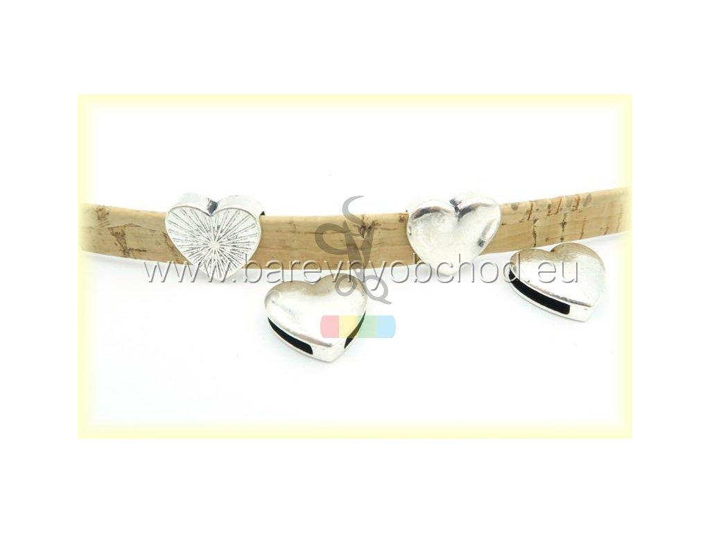 srdíčko pro plochý pásek 10 mm - stříbrné