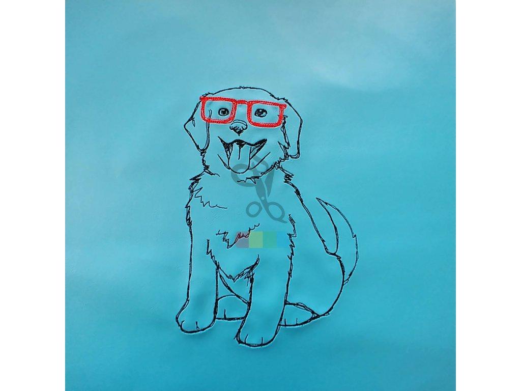 panel - brejlatý pes - tyrkysová koženka