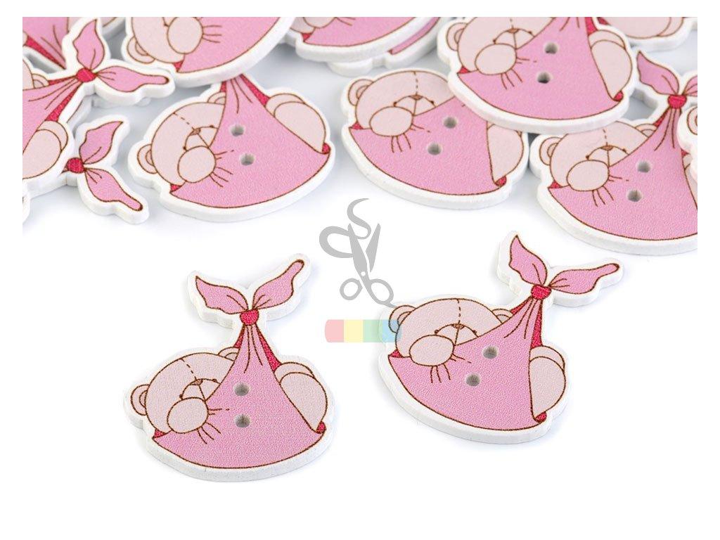 knoflík - medvídek v šátku - růžový