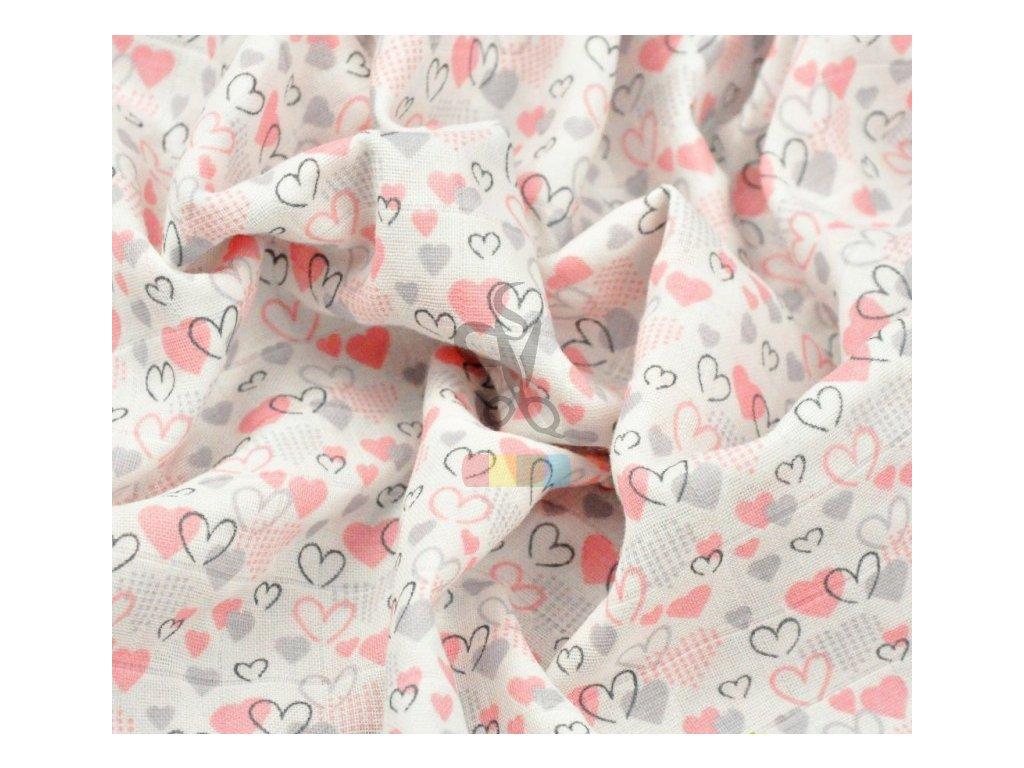 muslin bawelniany serduszka rozowo szare na bialym tle