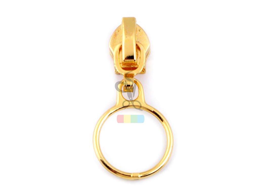jezdec metrážový k spirálovému zipu - 3 mm - kroužek zlatý