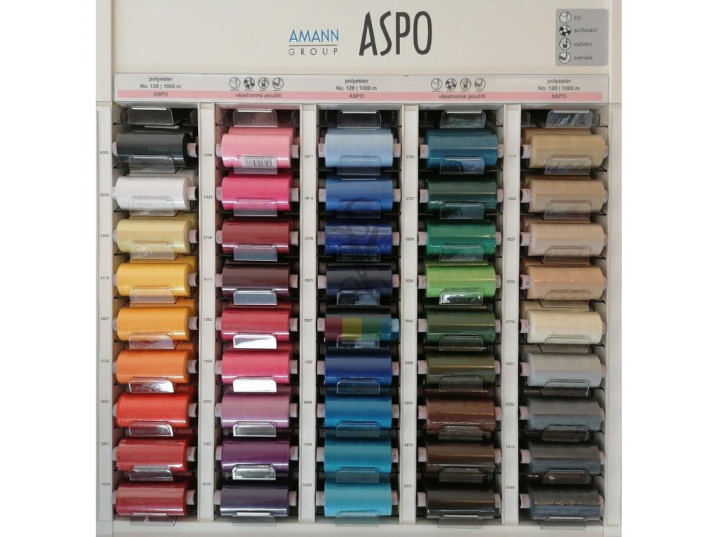 polyesterové nitě ASPO 120 - návin 1000 m - více barev