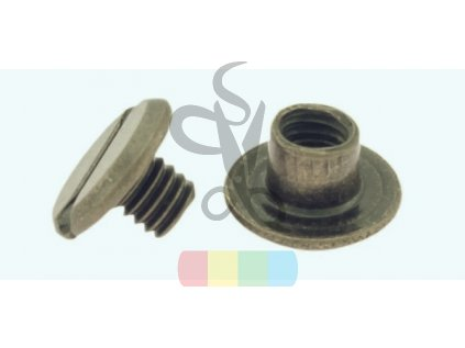 steel screw post antique brass 3677 l