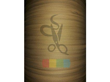 bavlněný tkaloun - zdrhovadlovka - 12 mm - tmavší béžová