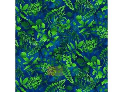 bavlněná látka - Butterfly Paradise - rostliny - modrá-zelená