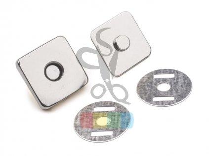 magnetické zapínání 14 x 14 mm čtverec stříbrná