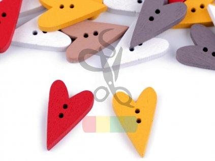 Dřevěný dekorační knoflík srdce  - různé barvy