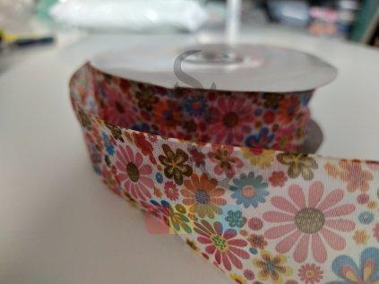 monofilová stuha s kytkami  40 mm - barevná