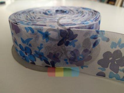 monofilová stuha s kytkami  40 mm - modrá