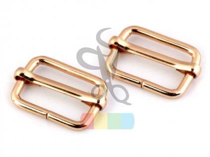 zkracovač kovový na popruhy 25 x 13 mm - zlatý