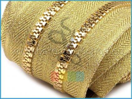 zip kostěnný v metráži 5 mm - zlatý