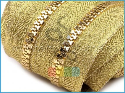 zip kostěný v metráži 5 mm - zlatý